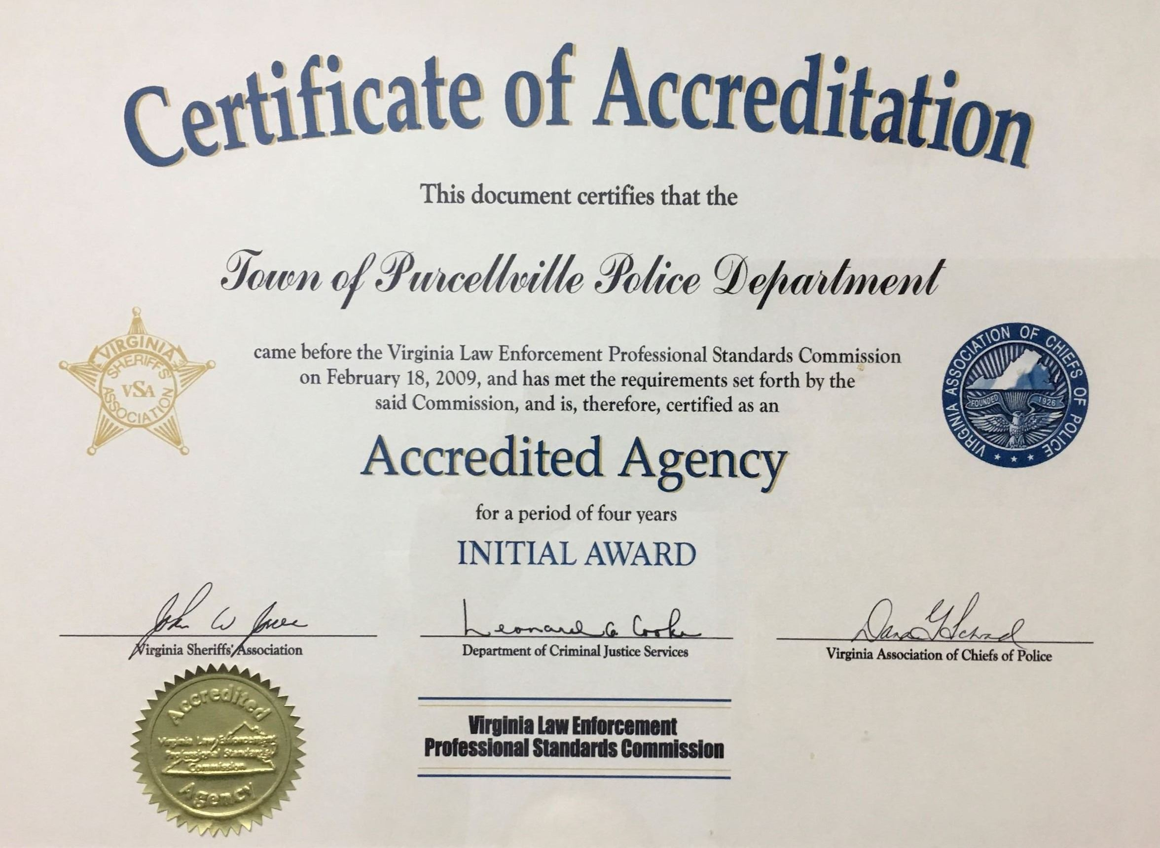 Accreditation Cert Initial