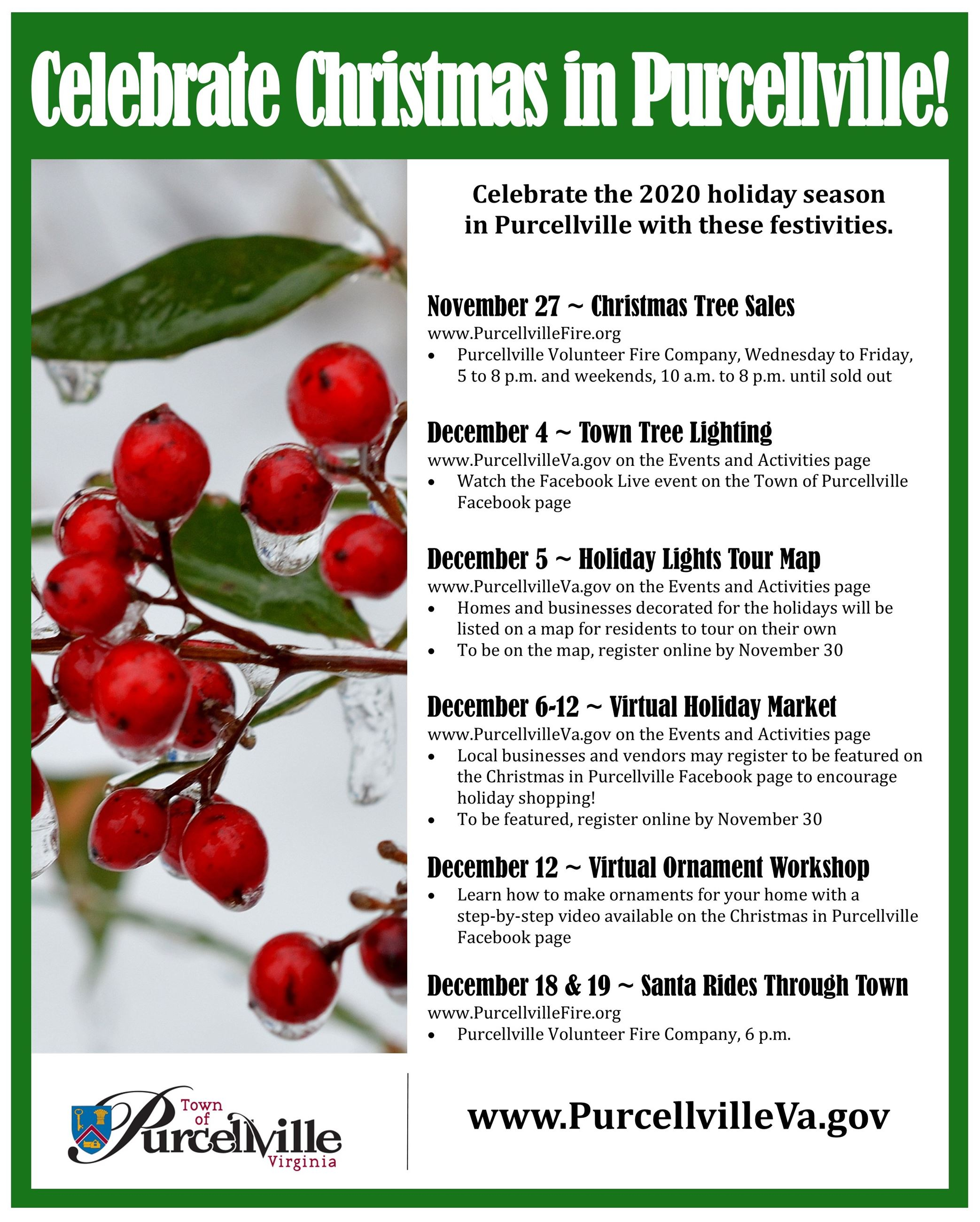 Christmas in Purcellville 2020 Flyer updated 12-1-20
